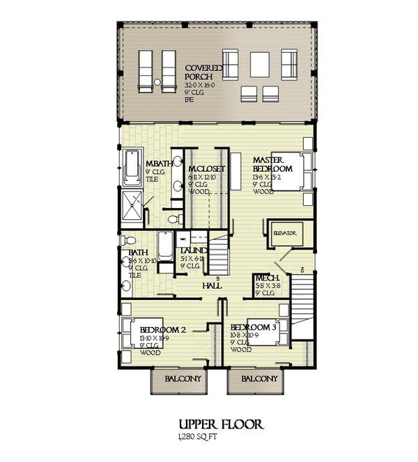 Beach Floor Plan - Upper Floor Plan #901-114