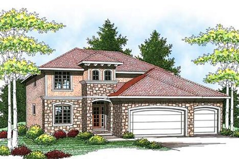 Mediterranean Exterior - Front Elevation Plan #70-934