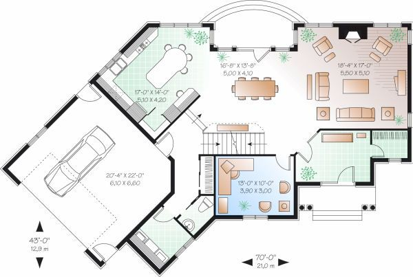 European Floor Plan - Main Floor Plan Plan #23-718