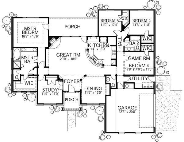 House Plan Design - Mediterranean Floor Plan - Main Floor Plan #80-158
