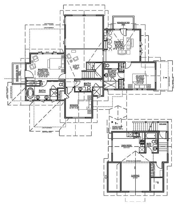 Craftsman Floor Plan - Upper Floor Plan Plan #899-3