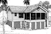 Beach Style House Plan - 3 Beds 2 Baths 1297 Sq/Ft Plan #312-718 Exterior - Rear Elevation