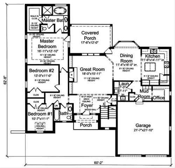 House Plan Design - European Floor Plan - Main Floor Plan #46-483