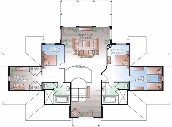 House Design - Beach Floor Plan - Upper Floor Plan #23-854