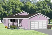 Ranch Style House Plan - 3 Beds 2 Baths 1255 Sq/Ft Plan #116-204 Exterior - Front Elevation