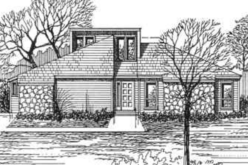 Modern Style House Plan - 3 Beds 2 Baths 1646 Sq/Ft Plan #30-145 Exterior - Front Elevation
