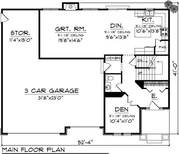 European Floor Plan - Main Floor Plan Plan #70-1100