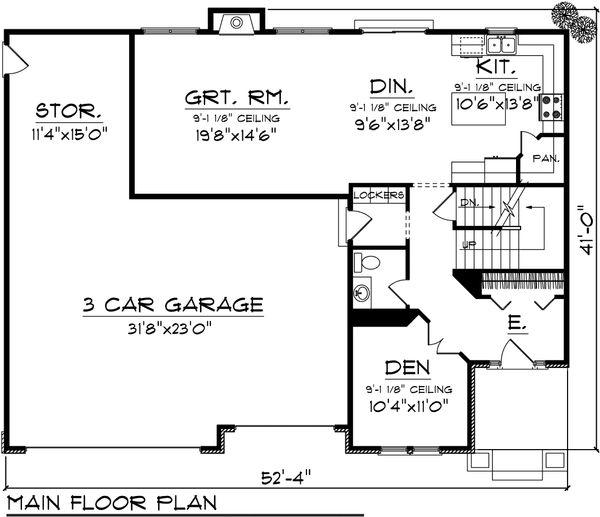 Dream House Plan - European Floor Plan - Main Floor Plan #70-1100