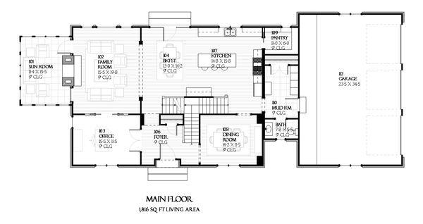 European Floor Plan - Main Floor Plan Plan #901-90