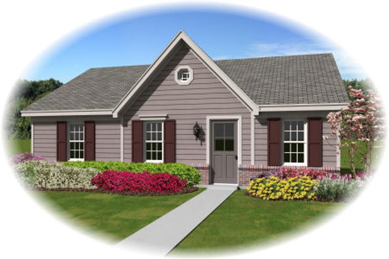 Ranch Style House Plan - 3 Beds 2 Baths 1112 Sq/Ft Plan #81-13856 Exterior - Front Elevation