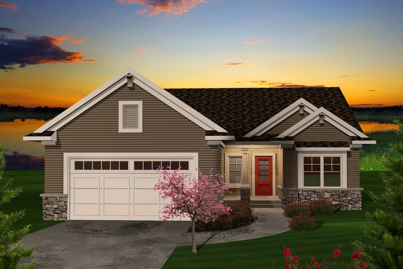 Dream House Plan - Ranch Exterior - Front Elevation Plan #70-1111