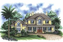 Adobe / Southwestern Exterior - Front Elevation Plan #1017-96