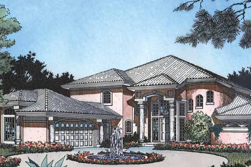 Dream House Plan - Mediterranean Exterior - Front Elevation Plan #417-476
