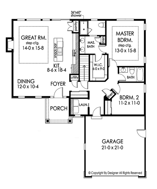 Ranch Floor Plan - Main Floor Plan Plan #1010-179