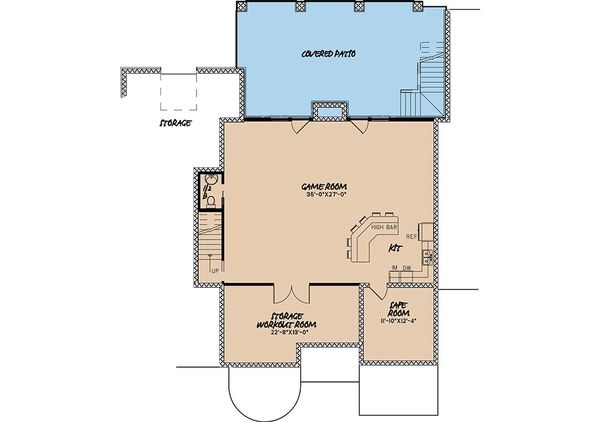 European Floor Plan - Lower Floor Plan Plan #923-2