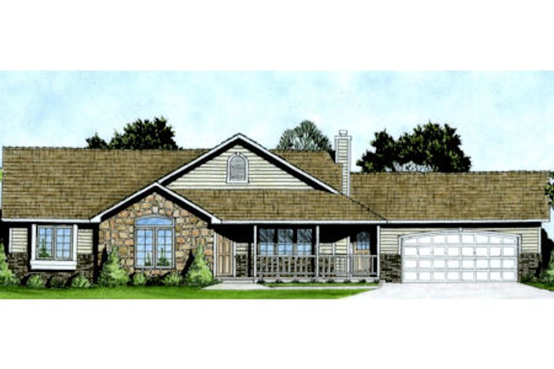 Ranch Style House Plan - 3 Beds 2.5 Baths 1586 Sq/Ft Plan #58-167 Exterior - Front Elevation