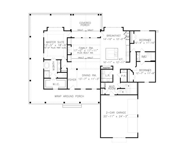 Dream House Plan - Farmhouse Floor Plan - Main Floor Plan #54-387