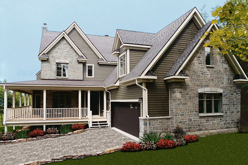 Farmhouse Style House Plan - 4 Beds 2.5 Baths 2376 Sq/Ft Plan #23-587 Exterior - Front Elevation