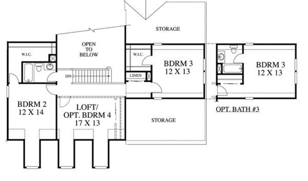 Traditional Floor Plan - Upper Floor Plan Plan #1053-42