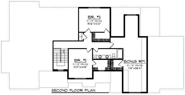 Craftsman Floor Plan - Upper Floor Plan Plan #70-1286