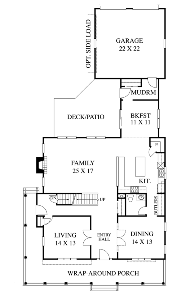 Colonial Floor Plan - Main Floor Plan Plan #1053-51