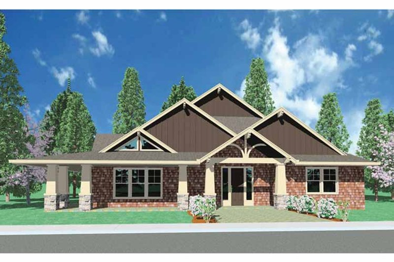 Craftsman Exterior - Front Elevation Plan #509-281 - Houseplans.com