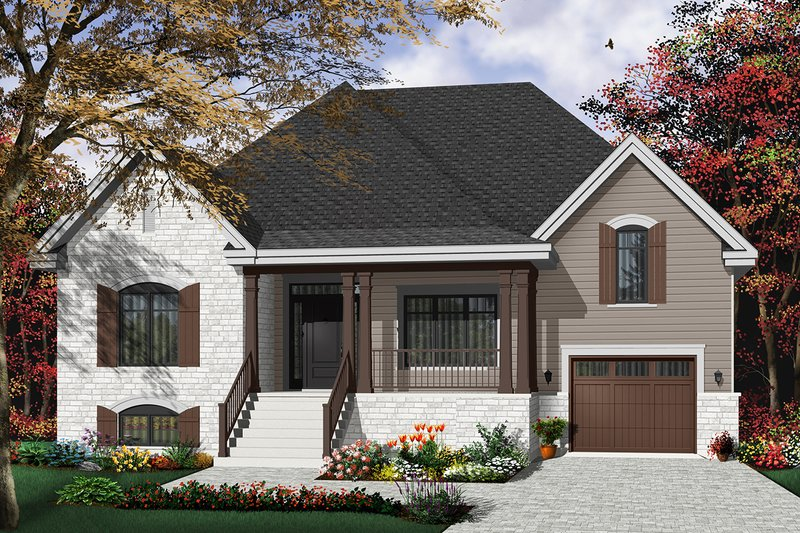 Country Style House Plan - 2 Beds 1 Baths 1519 Sq/Ft Plan #23-2231 Exterior - Front Elevation