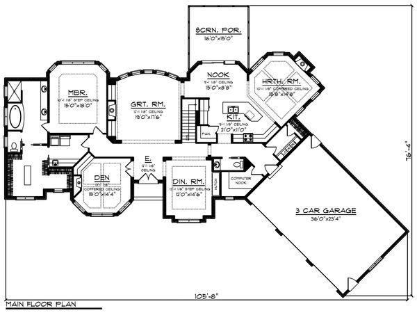 Ranch Floor Plan - Main Floor Plan Plan #70-1472