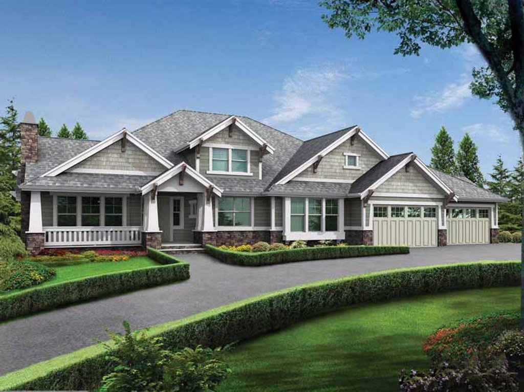 Craftsman style house plan 3 beds 3 5 baths 4110 sq ft for Craftsman vs mission style