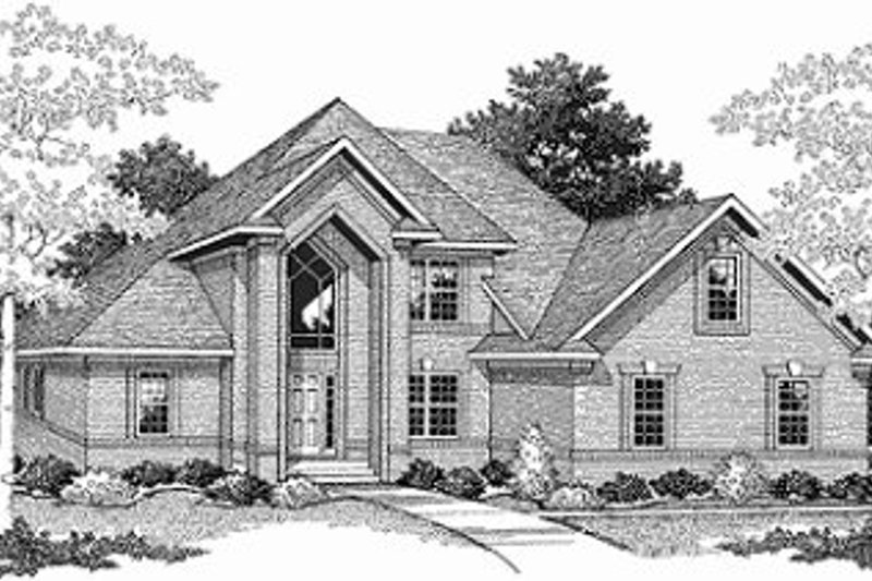 Traditional Style House Plan - 3 Beds 2.5 Baths 2581 Sq/Ft Plan #70-413 Exterior - Front Elevation