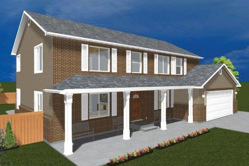 Traditional Exterior - Front Elevation Plan #1060-17 - Houseplans.com