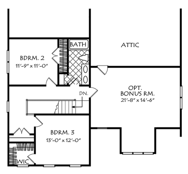 Colonial Floor Plan - Upper Floor Plan Plan #927-975