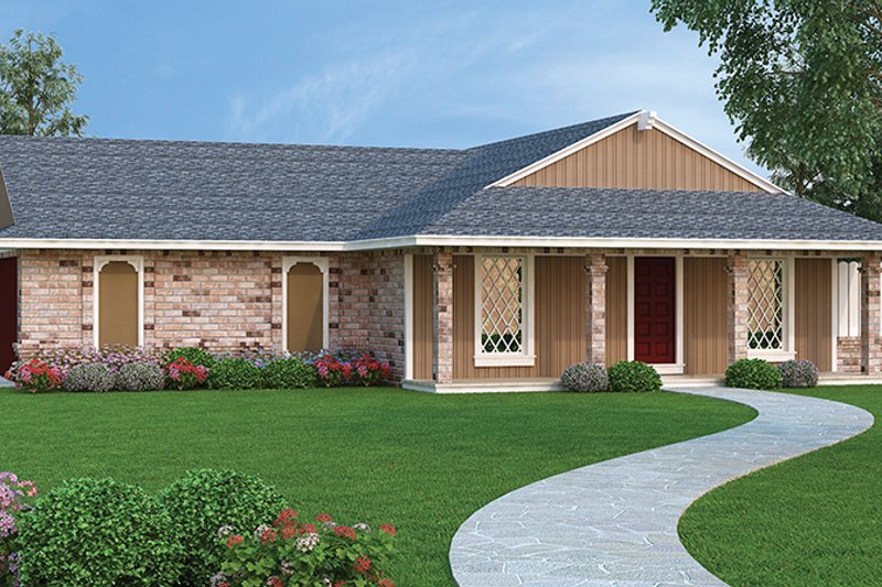 Ranch Exterior - Front Elevation Plan #45-558