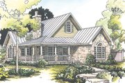 Country Style House Plan - 2 Beds 2 Baths 1065 Sq/Ft Plan #140-165 Exterior - Front Elevation