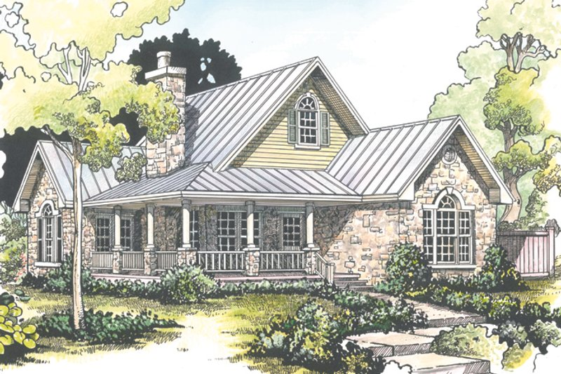Country Exterior - Front Elevation Plan #140-165