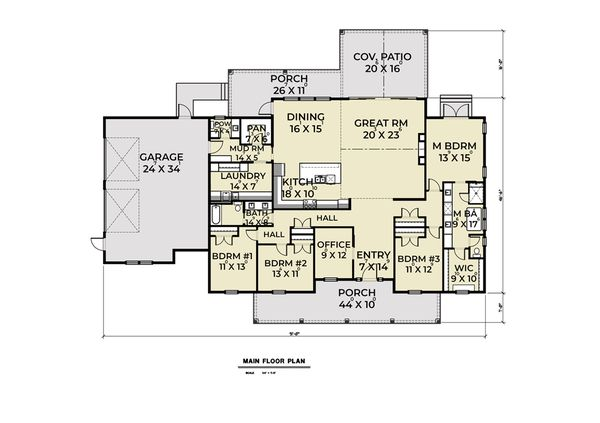 Contemporary Floor Plan - Main Floor Plan Plan #1070-85