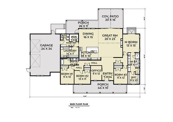 Contemporary Floor Plan - Main Floor Plan #1070-85