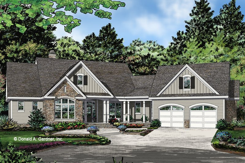 Architectural House Design - Ranch Exterior - Front Elevation Plan #929-1096