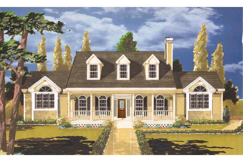 Classical Style House Plan - 3 Beds 2 Baths 1729 Sq/Ft Plan #3-287 Exterior - Front Elevation