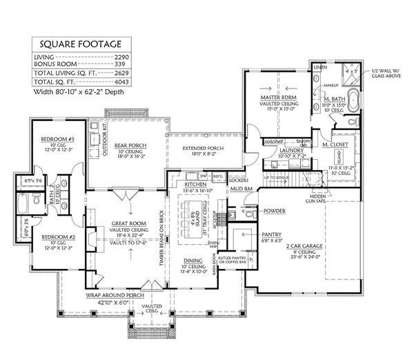 Architectural House Design - Farmhouse Floor Plan - Main Floor Plan #1074-15