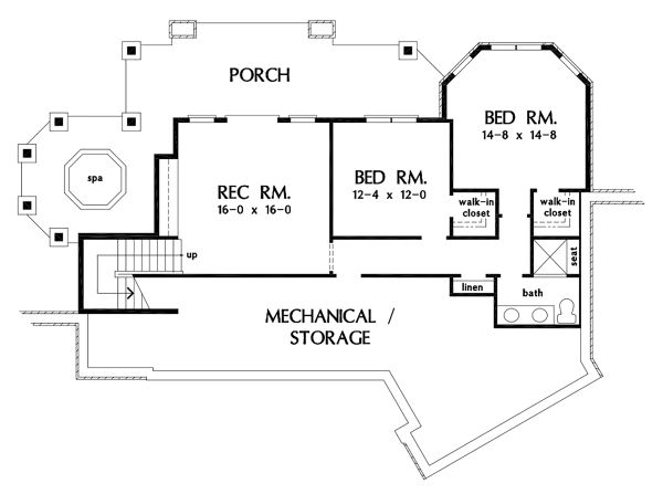 Craftsman Floor Plan - Lower Floor Plan #929-1103