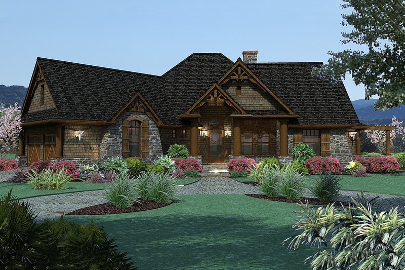Lodge style craftsman house 1900 sft by Texas Architect David Wiggins