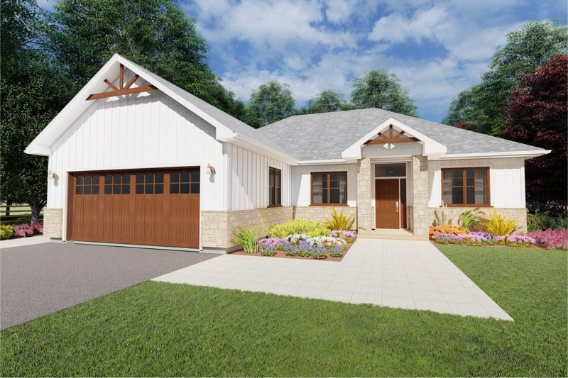 Ranch Style House Plan - 3 Beds 2 Baths 1573 Sq/Ft Plan #126-180 Exterior - Front Elevation
