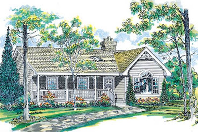 Traditional Style House Plan - 3 Beds 2 Baths 1475 Sq/Ft Plan #47-148 Exterior - Front Elevation