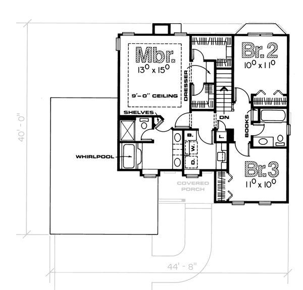 Traditional Floor Plan - Upper Floor Plan Plan #20-2013