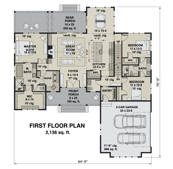 Dream House Plan - Farmhouse Floor Plan - Main Floor Plan #51-1164