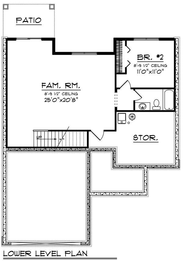 Craftsman Floor Plan - Lower Floor Plan Plan #70-1213