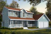 Colonial Style House Plan - 3 Beds 2.5 Baths 1676 Sq/Ft Plan #98-210 Exterior - Front Elevation