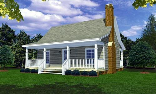 Cottage Style House Plan - 2 Beds 1 Baths 800 Sq/Ft Plan #21-169 Exterior - Front Elevation