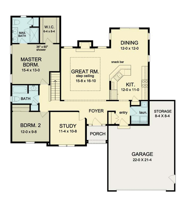 Ranch Floor Plan - Main Floor Plan Plan #1010-29